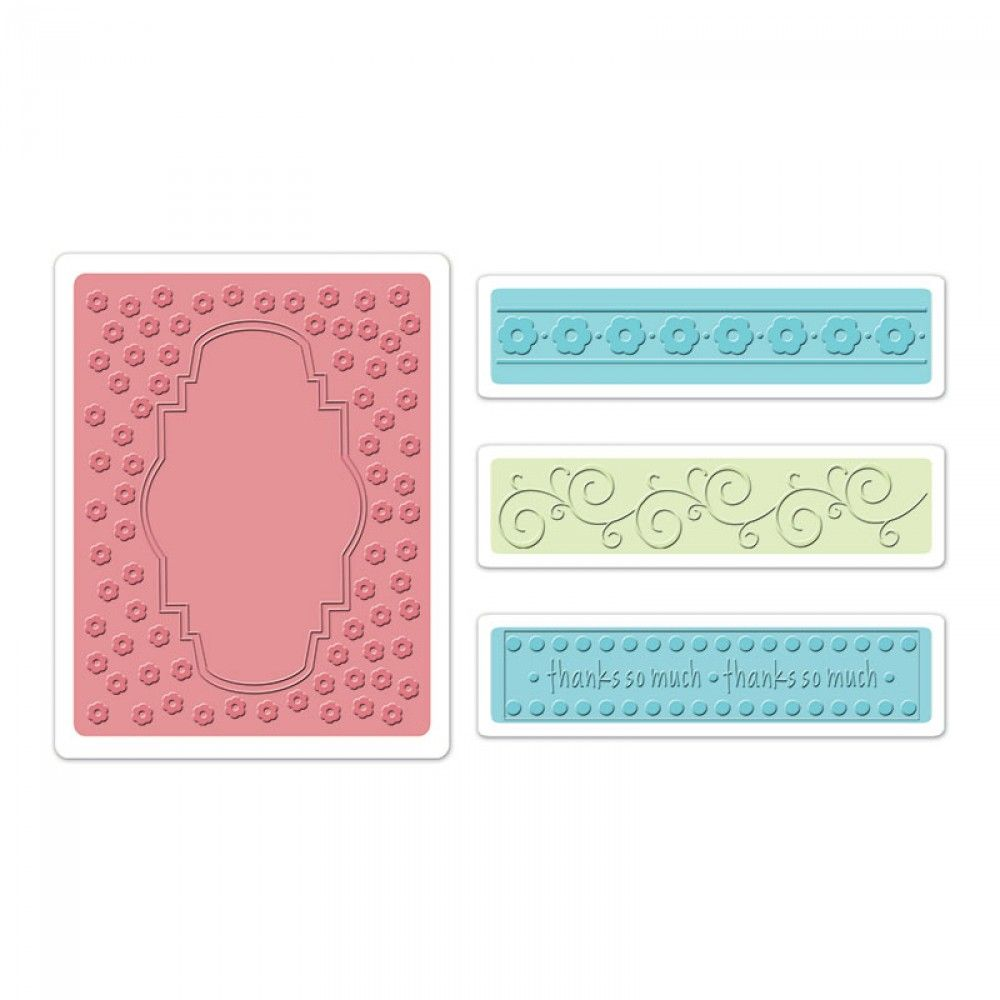 Sizzix Embossing Folders 4PK - Ornate Frame & Borders Set - 658216
