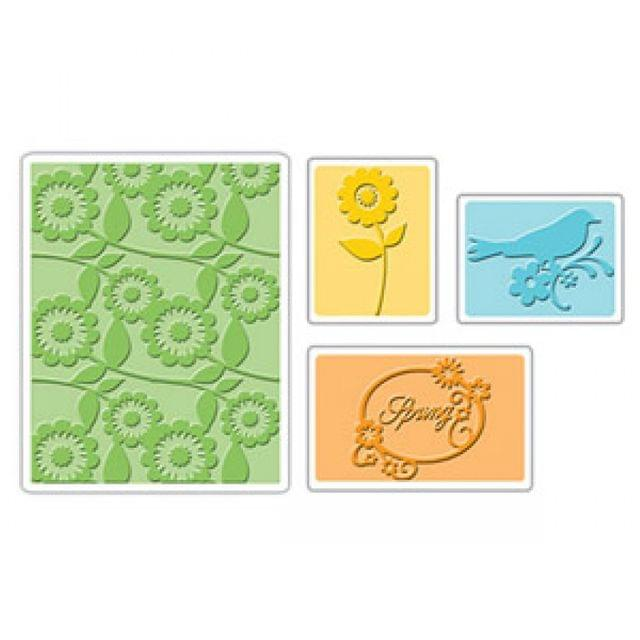 Sizzix Embossing Folders 4PK - Spring Bird & Flowers Set - 656690