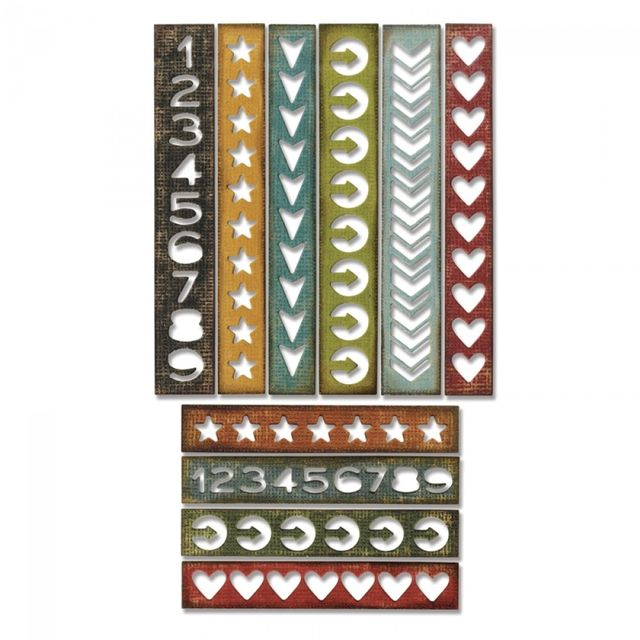 Sizzix Thinlits Die Set 10PK - Shape Strips - 660226