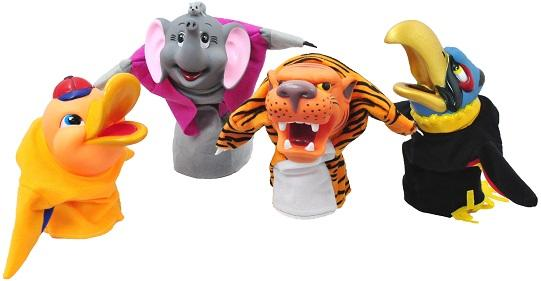 Animal, Xtra Large Hand Puppets  (Pack of 4)