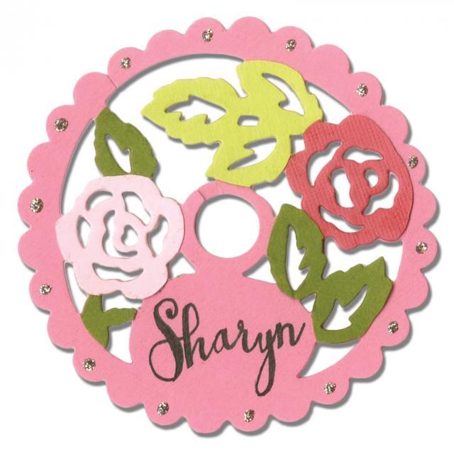 Sizzix Thinlits Die - Wine Stem Name Label, Rose Lace Item - 660750