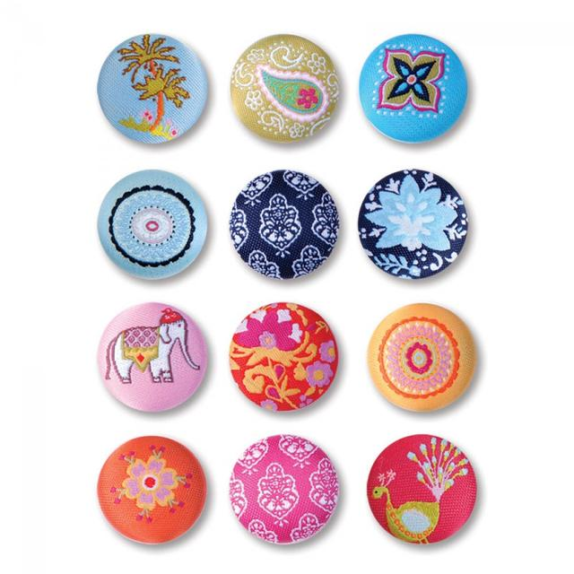 Sizzix Embellishments - Moroccan Fabric Buttons, 12 Pack - 658594