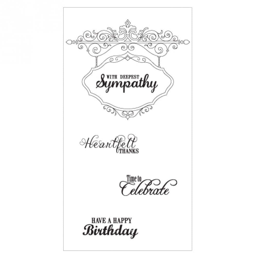 Sizzix Interchangeable Clear Stamps - Hanging Sign w/Phrases - 660641