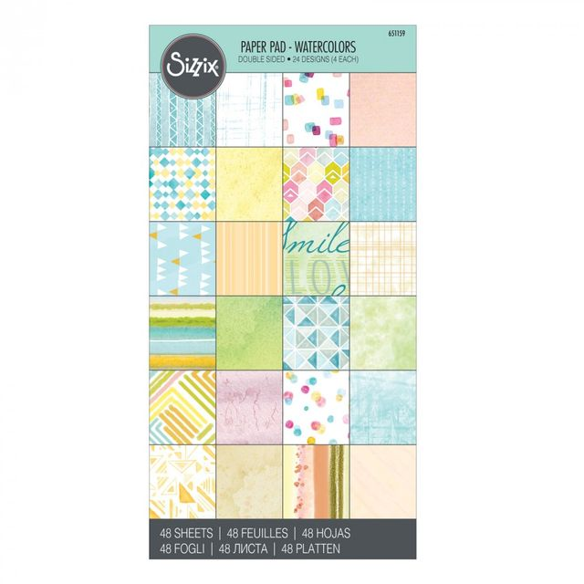 "Sizzix Paper - 6"" x 12"" Cardstock Pad, Watercolors, 48 Sheets - 651159"