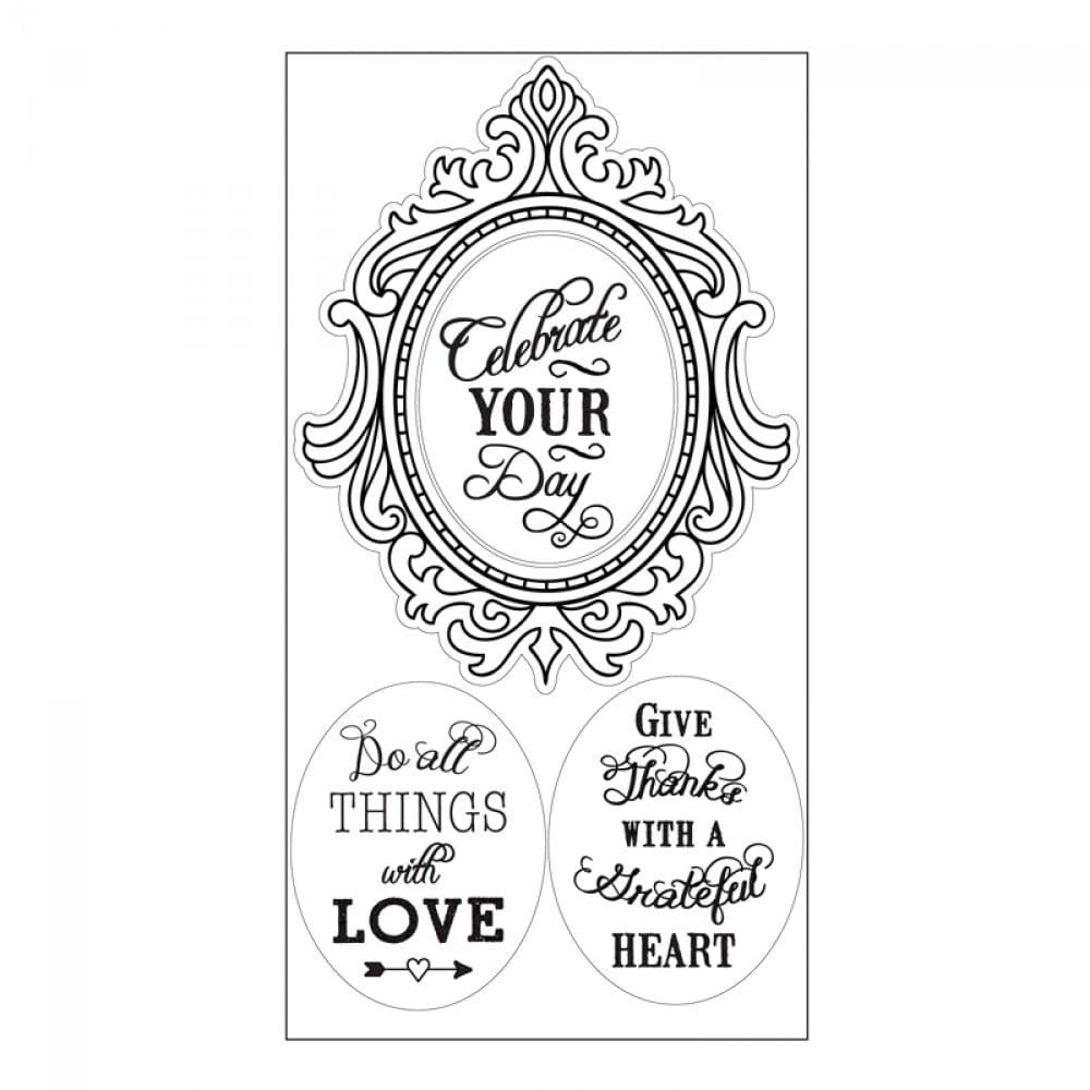 Sizzix Interchangeable Clear Stamps - Fancy Frame w/Phrases- 660562