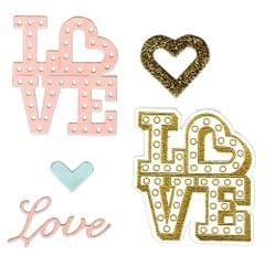 Sizzix Framelits Die Set 4PK w/Stamps - Love in Lights- 661858