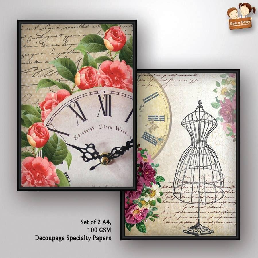 Decoupage Paper - shabby chic 5 (Pack of 5 sets)