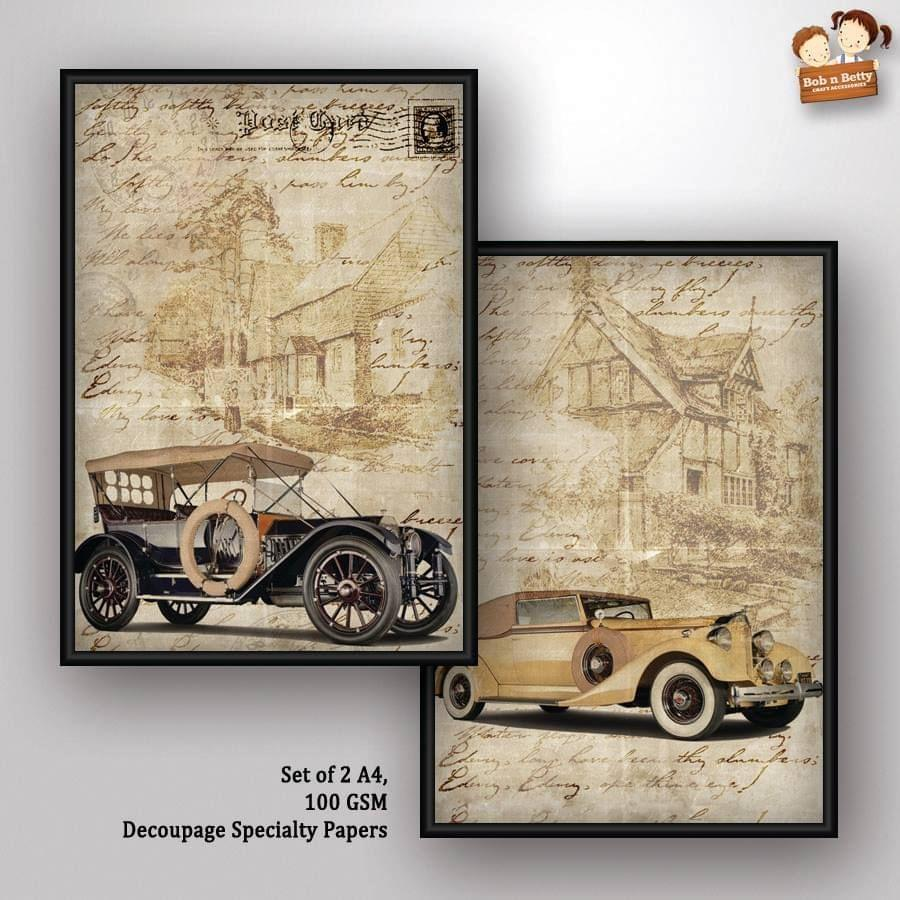 Decoupage Paper - Vintage Wheels 1 (Pack of 5 sets)