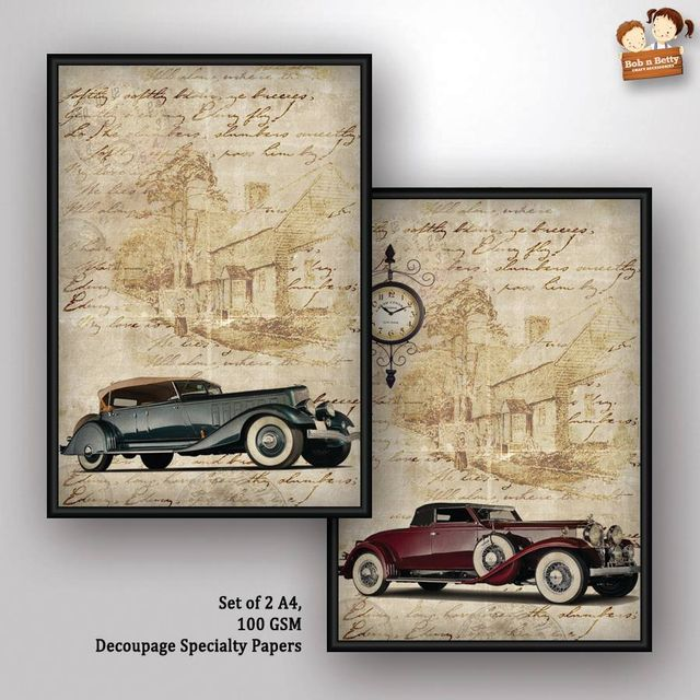 Decoupage Paper - Vintage Wheels 3 (Pack of 5 sets)