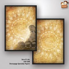 Decoupage Paper - Next to Silence 1- Buddha Series (Pack of 5 sets)