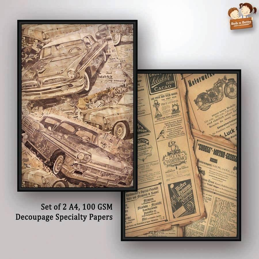 Decoupage Papers - Cars (Pack of 5 sets)