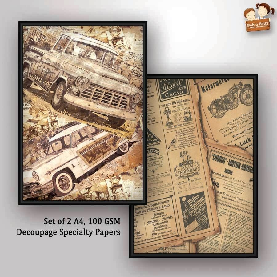 Decoupage Papers - Cars (Pack of 1 set)
