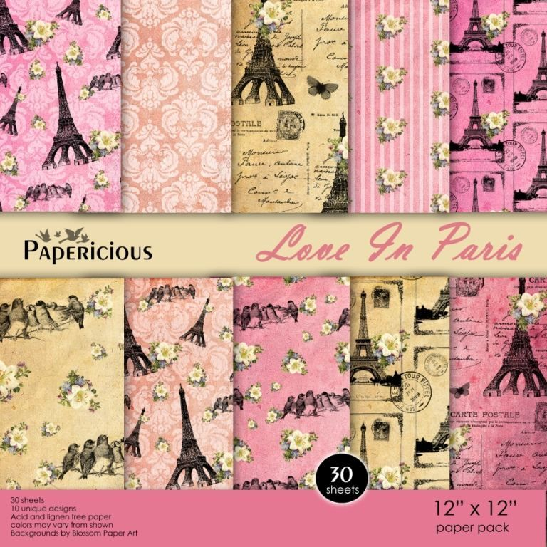 Papericious 12×12 Premium Paper Pack – Love in Paris