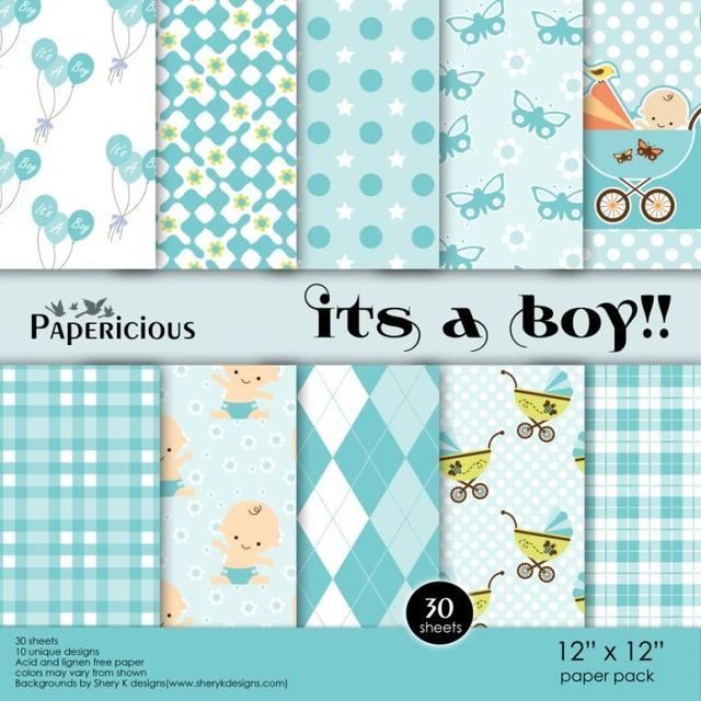 Papericious 12×12 Paper Pack – Its a Boy