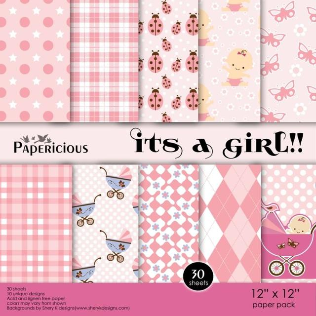 Papericious 12×12 Paper Pack – Its a Girl
