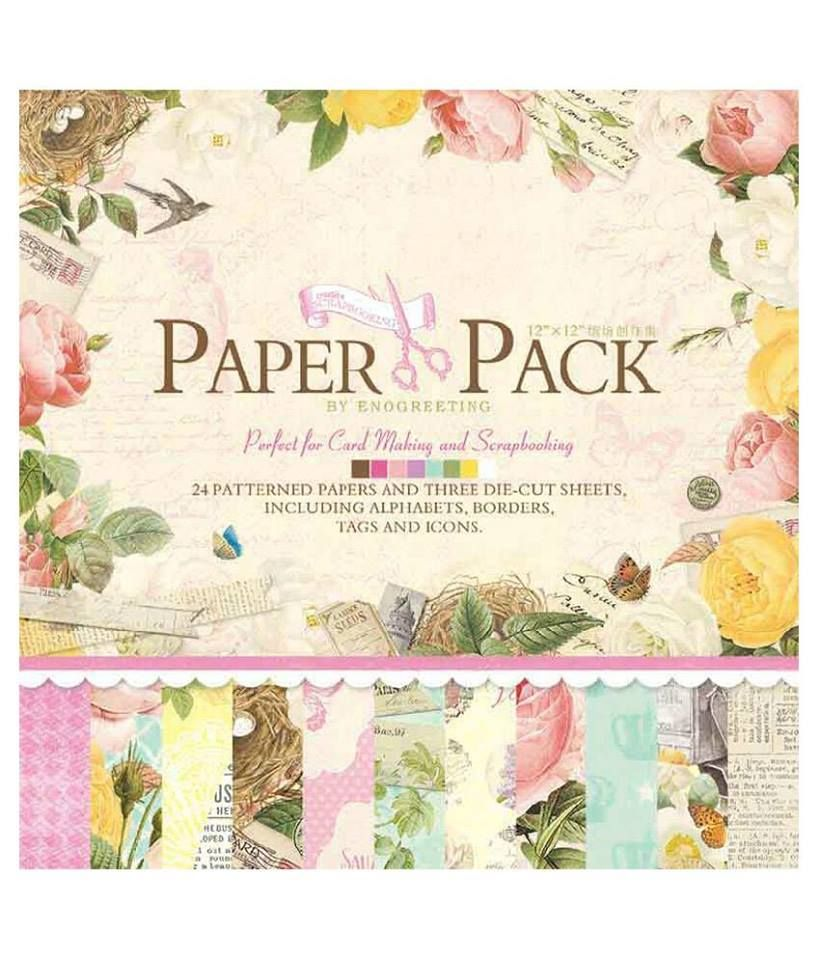 Enogreeting Patterned Paper - Flowers 12 by 12