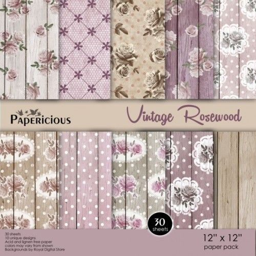Papericious 12×12 Premium Paper Pack – Vintage Rosewood