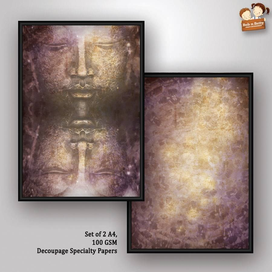 Decoupage Paper - Next to Silence 3- Buddha Series (Pack of 5 sets)