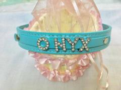 Personalised Name Charm Collar - L - Blue (upto 5 letters)