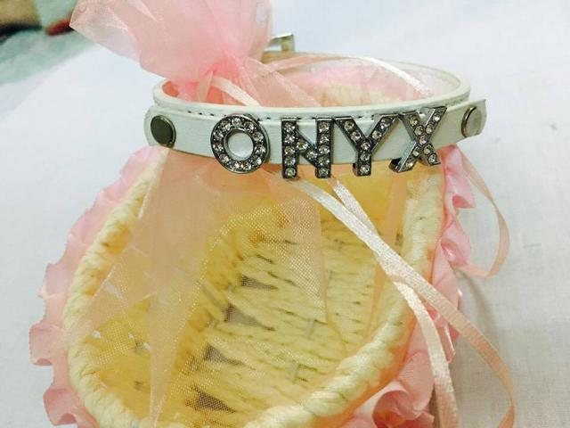 Personalised Name Charm Collar - S - Black (upto 5 letters)