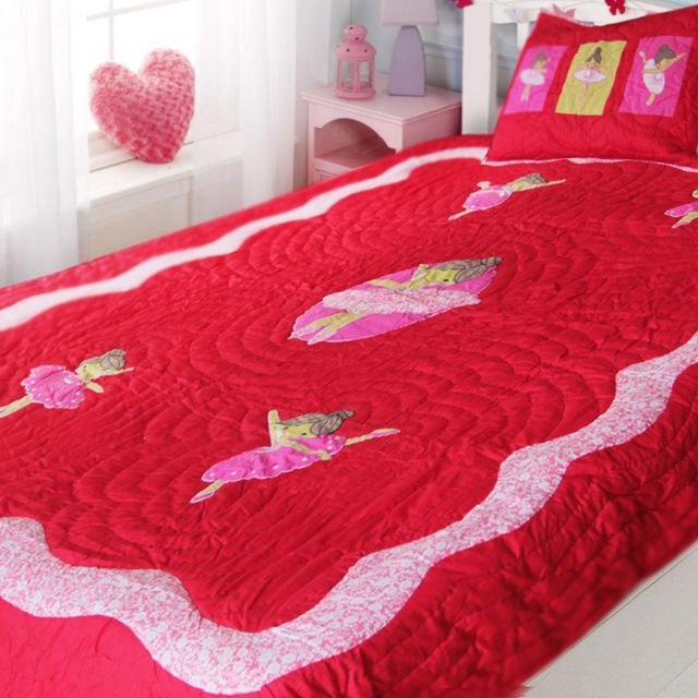 A Little Fable - Ballerina Quilt (TWIN) Red & Pink