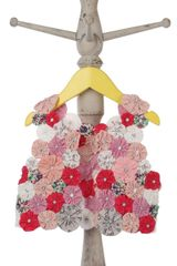Pink waistcoat with handmade flower design and matching dress for baby girls-SS15-IG-DR0026A-5 Mi Dulce An'ya