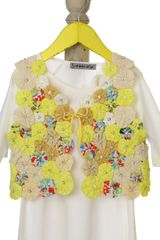 Yellow waistcoat with handmade flower design and matching dress for baby girls-SS15-IG-DR0026B-5 Mi Dulce An'ya