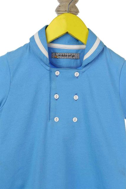 Blue tee shirt with sailor inspired neck detailing for infant boys Mi Dulce An'ya