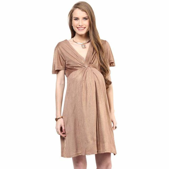 Mamacouture- Maternity Golden Front Knot Dress