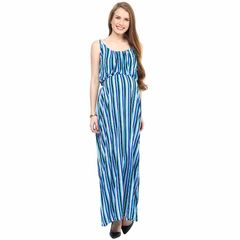 Mamacouture- Blue Striped Maxi Maternity Dress