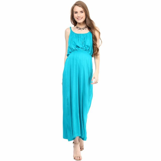 Mamacouture- Trendy Blue Maxi Maternity Dress