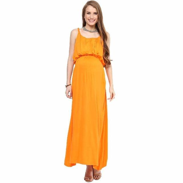 Mamacouture- Orange Maxi Maternity Dress