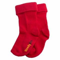 NeedyBee- Boys and Girls Red Comfort Cotton Socks With Fold