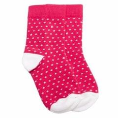 NeedyBee- Pretty Dark Pink and White Girls Cotton Socks