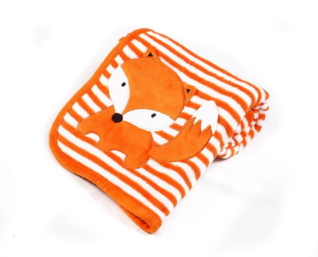 ULTRA SOFT FLEECE BLANKET ORANGE STRIPES WITH ANIMAL APPLIQUE