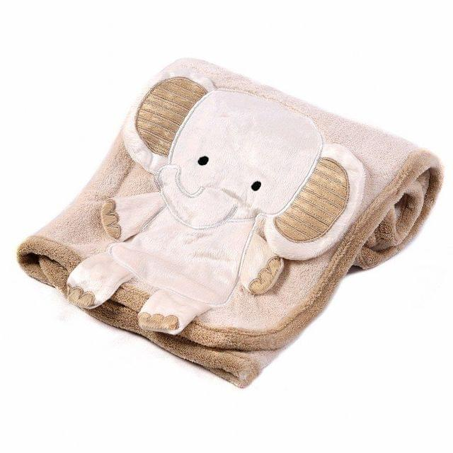 ULTRA SOFT FLEECE BLANKET BEIGE WITH ELEPHANT APPLIQUE