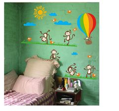 Oren Empower Multicolored Funny Monkey PVC Vinyl Large Wall Sticker