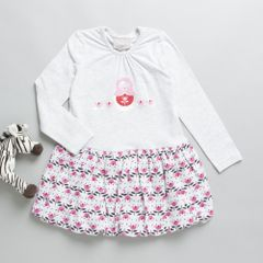 Coccoli Full sleeves Grey & Pink A line Dress
