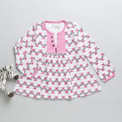 Coccoli Full sleeves Pink & Grey A line Dress