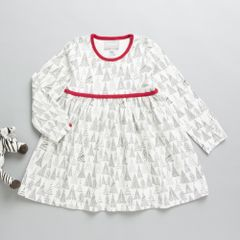 Coccoli Full sleeves Off white and Red A line Dress