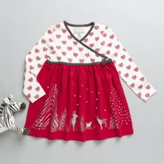 Beautiful Red & Off white Christmas themed printed Dress from Coccoli
