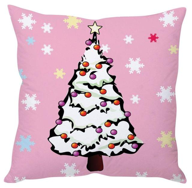 StyBuzz snowy Christmas tree cushion cover