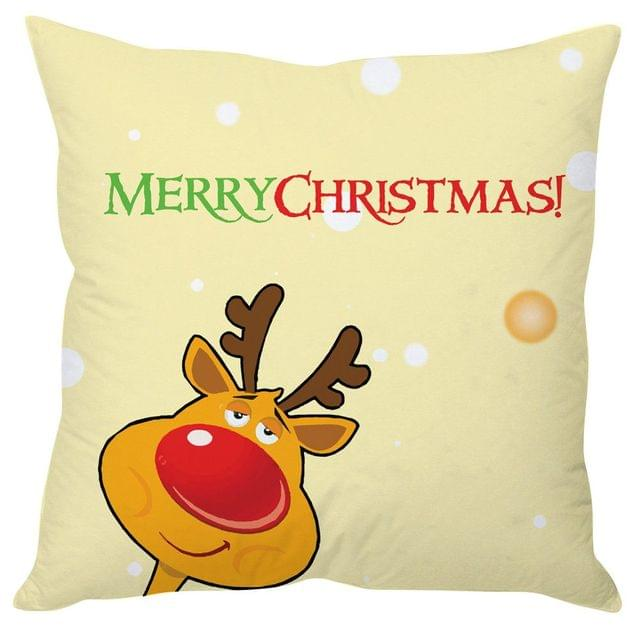 StyBuzz merry Christmas beige cushion cover