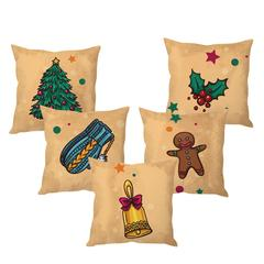 StyBuzz Christmas cushion cover- SET OF 5