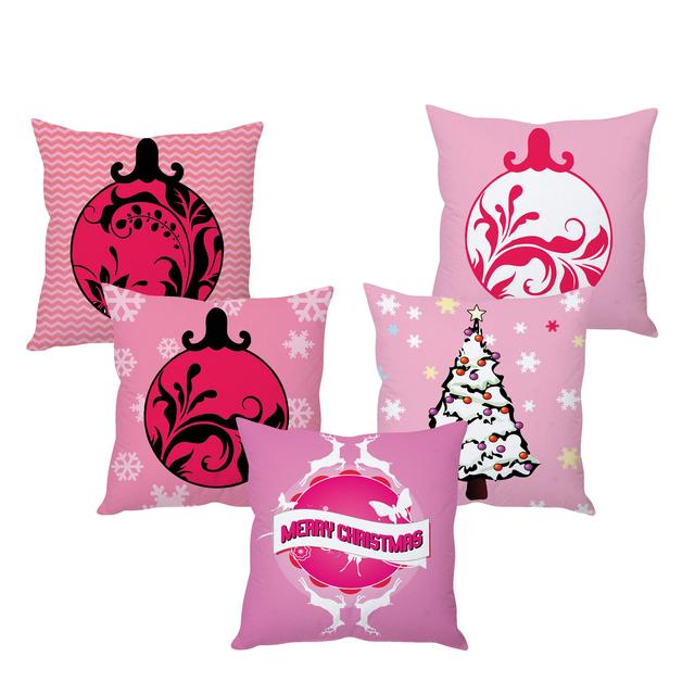 StyBuzz pink Christmas cushion cover- SET OF 5