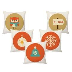 StyBuzz Christmas elements cushion cover- SET OF 5