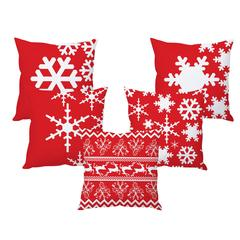 StyBuzz snowflake art Christmas cushion cover- SET OF 5
