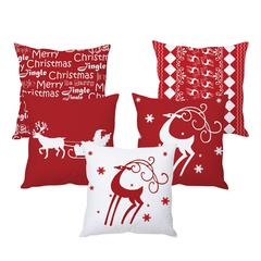 StyBuzz red and white Christmas cushion cover- SET OF 5
