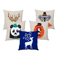 StyBuzz Christmas animals cushion cover- SET OF 5