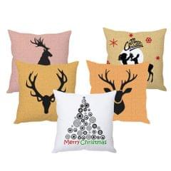 StyBuzz reindeer art Christmas cushion cover- SET OF 5
